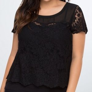 Torrid | Black Short Sleeve Lace and Chiffon Top